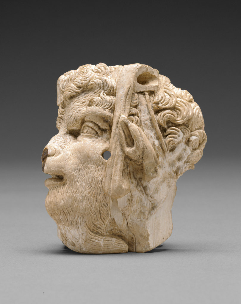 Applique depicting the head of pan, East Greek, about 100 B.C.E., Ivory, courtesy The J. Paul Getty Museum